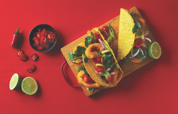 Crumbed calamari tacos