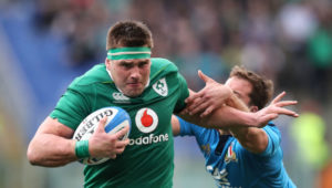 CJ Stander shrugs off an Italy tackler