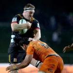 Brodie Retallick is tackled against the Jaguares