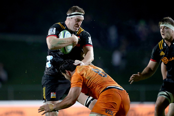 Brodie Retallick is tackled against the Jaguares