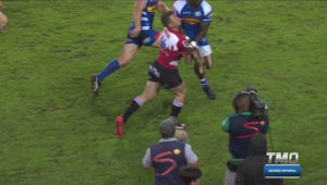 Raymond Rhule collides with Ruan Combrinck