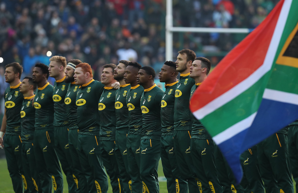 The Springboks line up for the anthem at Newlands