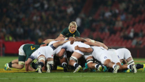 The Springboks and England scrum down