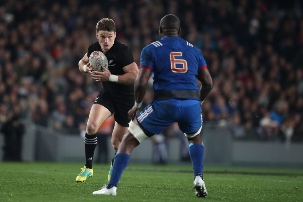 New Zealand's Beauden Barrett takes on the France defence