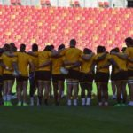 Springbok players in a huddle