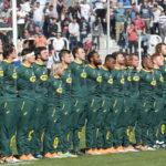 Boks line up for the anthem