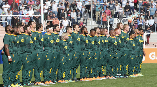 Boks line up for the anthem